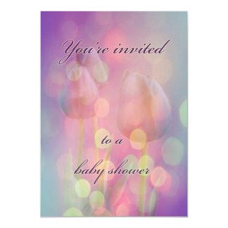 Baby showerinbjudan - Bokeh tulpan 12,7 X 17,8 Cm Inbjudningskort