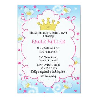 Baby showerinbjudan för Princess Butterly Flicka 12,7 X 17,8 Cm Inbjudningskort