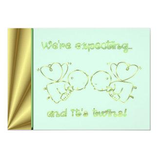 Baby showerinbjudan förväntar vi twillingar 12,7 x 17,8 cm inbjudningskort