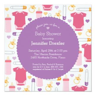 Baby showerinbjudan i lavendelrosor fyrkantigt 13,3 cm inbjudningskort