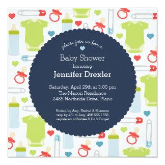Baby showerinbjudan i marin fyrkantigt 13,3 cm inbjudningskort