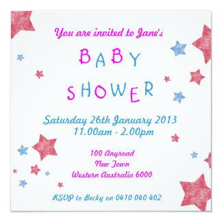 Baby showerinbjudan fyrkantigt 13,3 cm inbjudningskort