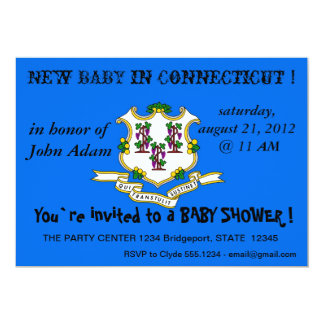 Baby showerinbjudan med flagga av Connecticut 12,7 X 17,8 Cm Inbjudningskort