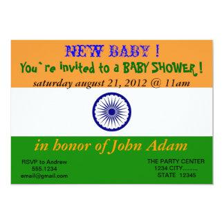 Baby showerinbjudan med flagga av Indien 12,7 X 17,8 Cm Inbjudningskort