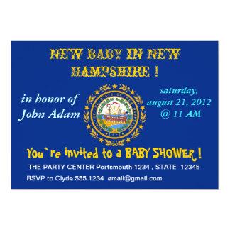 Baby showerinbjudan med flagga av New Hampshire 12,7 X 17,8 Cm Inbjudningskort
