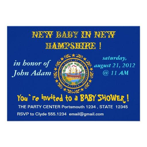 Baby showerinbjudan med flagga av New Hampshire Anpassningsbara Inbjudningskort