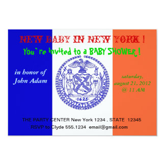 Baby showerinbjudan med flagga av New York 12,7 X 17,8 Cm Inbjudningskort