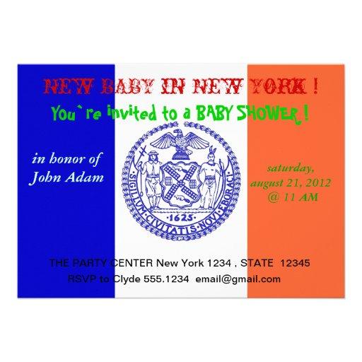 Baby showerinbjudan med flagga av New York Anpassningsbara Tillkännagivanden