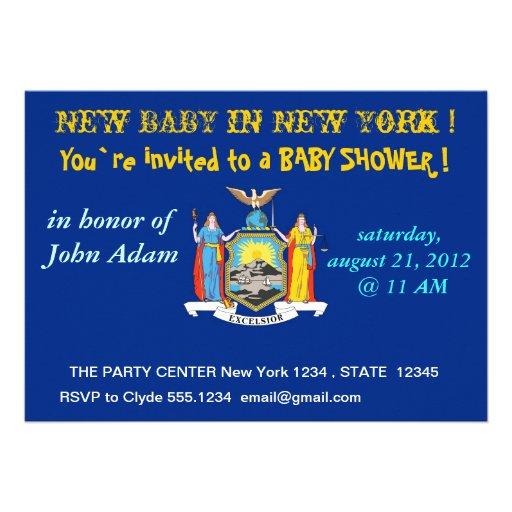 Baby showerinbjudan med flagga av New York Skräddarsydda Inbjudan