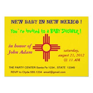 Baby showerinbjudan med flagga av nytt - mexico 12,7 x 17,8 cm inbjudningskort