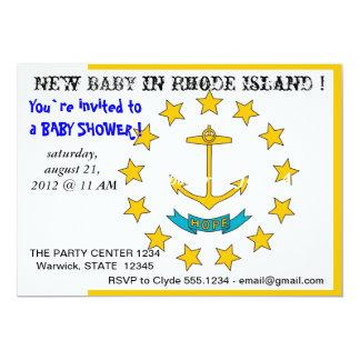 Baby showerinbjudan med flagga av Rhode - ö 12,7 X 17,8 Cm Inbjudningskort