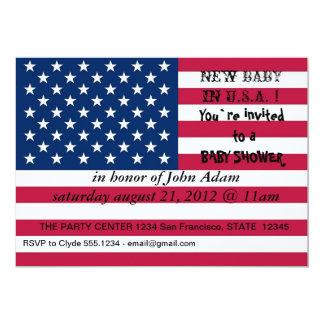Baby showerinbjudan med flagga av USA 12,7 X 17,8 Cm Inbjudningskort