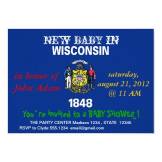 Baby showerinbjudan med flagga av Wisconsin 12,7 X 17,8 Cm Inbjudningskort
