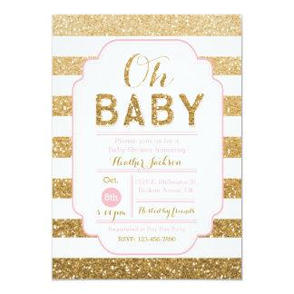 Baby showerinbjudan med rosor och guld- glitter 12,7 x 17,8 cm inbjudningskort