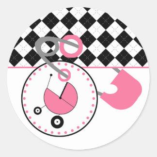 Baby showerklistermärke - Argyle & den rosa blöjan Runt Klistermärke