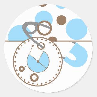 Baby showerklistermärke - blåttblöjan klämmer fast runt klistermärke