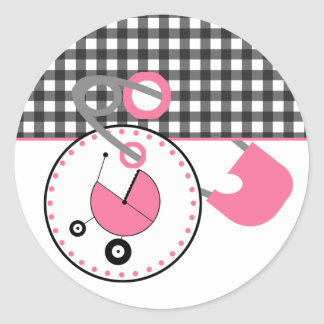 Baby showerklistermärke - Gingham & rosablöjan Runt Klistermärke