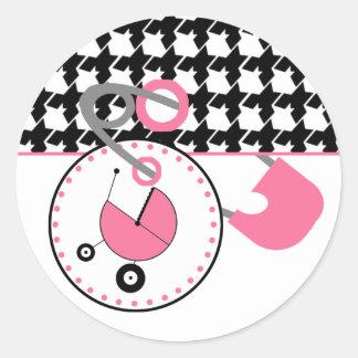 Baby showerklistermärke - Houndstooth & den rosa Runt Klistermärke