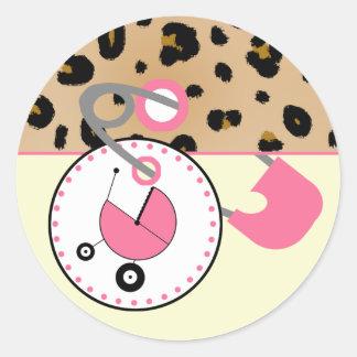Baby showerklistermärke - leoparden & rosablöjan runt klistermärke