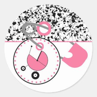 Baby showerklistermärken - måla splatteren, & runt klistermärke