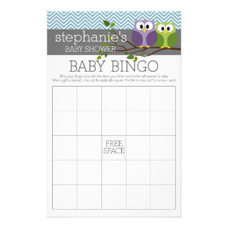 Baby showerlek - Bingo - pojkeuggla Reklamblad 14 X 21,5 Cm