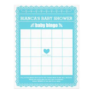 Baby showerlek i blått Papel Picado Reklamblad 21,5 X 30 Cm