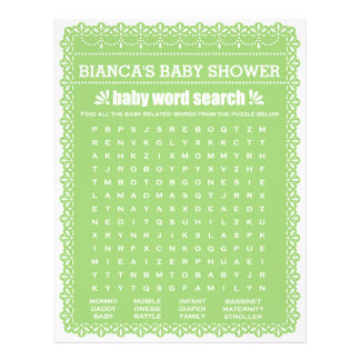 Baby showerlek i gröna Papel Picado Reklamblad 21,5 X 30 Cm