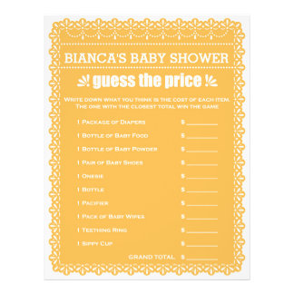 Baby showerlek i orange Papel Picado Reklamblad 21,5 X 30 Cm