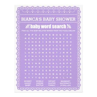 Baby showerlek i purpurfärgade Papel Picado Reklamblad 21,5 X 30 Cm