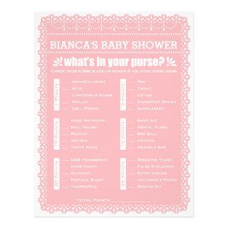 Baby showerlek i rosa Papel Picado Reklamblad 21,5 X 30 Cm