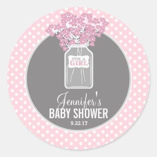 Baby showerMasonburk (rosor) Runt Klistermärke