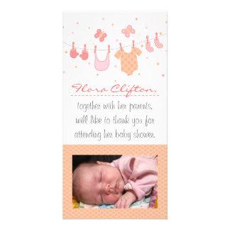Baby showertack Barnkläder på klädstreck Fotokort