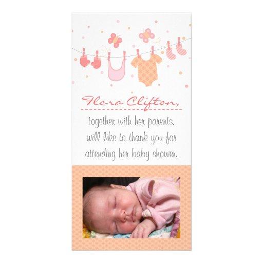 Baby showertack: Barnkläder på klädstreck Fotokort