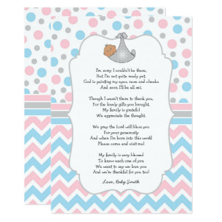 Baby showertackkortet, medel flår blåttögon 12,7 x 17,8 cm inbjudningskort