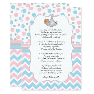 Baby showertackkortet, medel flår bruna ögon 12,7 x 17,8 cm inbjudningskort