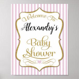 Baby showervälkomnandet undertecknar rosa guld- poster
