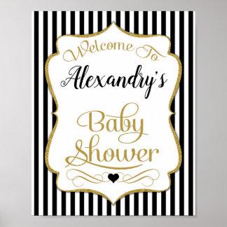 Baby showervälkomnandet undertecknar svart guld- poster