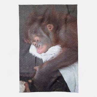 Baby som sovar orangutanen kökshandduk