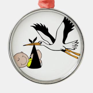 Baby & Stork - packe av glädje Julgransprydnad Metall