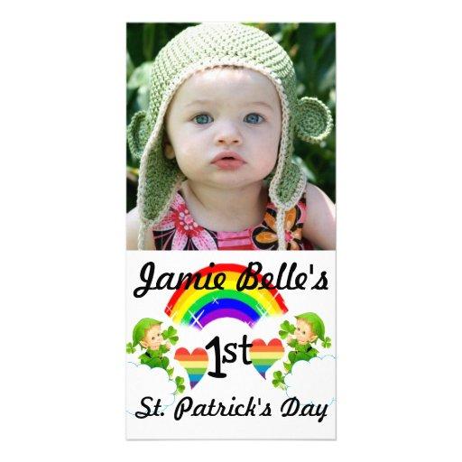Baby Sts Patrick kort för foto för dag Anpassade Foto Kort