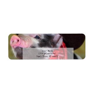babyar för boskap för Piglet för valpCowboybaby Returadress Etikett