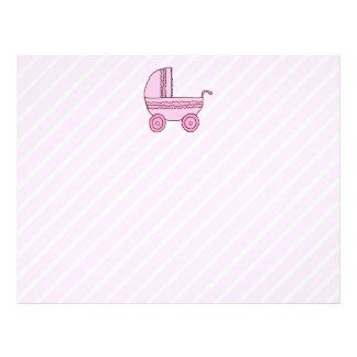 Babybarnvagn. Rosor på Light - rosa Stripes. Flygblad Designs