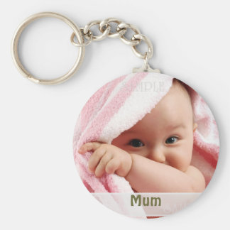 Babybild för morsan, nyckelringgåva rund nyckelring