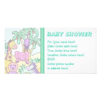 Babydjungel 13 baby shower hälsningskort med foto