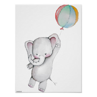 Babyelefant med ballonganpassadeaffischen poster