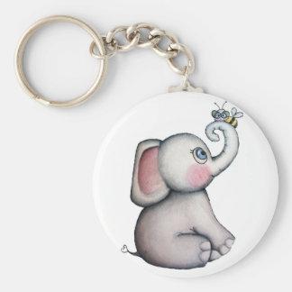 Babyelefant med biet Keychain Rund Nyckelring