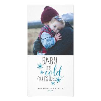 Babyen är det kallt utanför jul fotokort