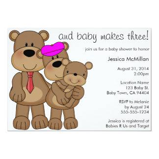 Babyen för tre björnar gör tre baby shower 12,7 x 17,8 cm inbjudningskort
