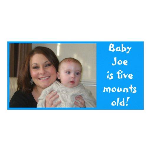 Babyen Joe är fem gammala månader! Fotokort
