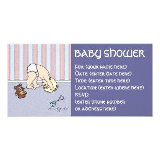 Babyen slå en kullerbytta baby shower fotokort